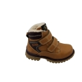 Leather Double Velcro Kid Winter Boots With Warm Fur